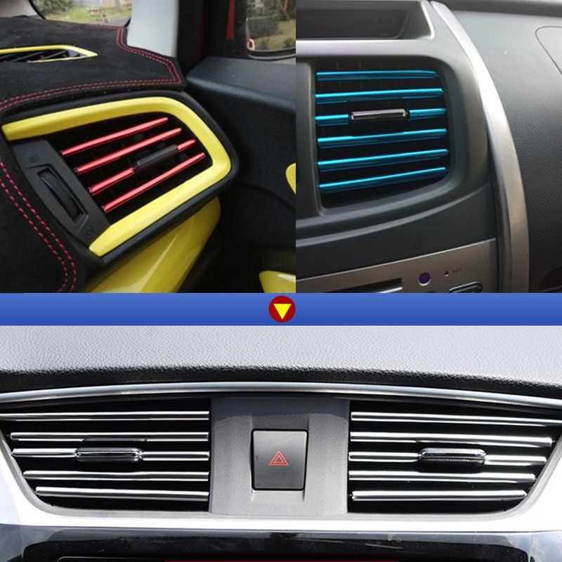 10 個車スタイリングモールディング空気出口トリムストリップ自動車エアベントグリルリムトリム車の装飾ストリップクローム車アクセサリー