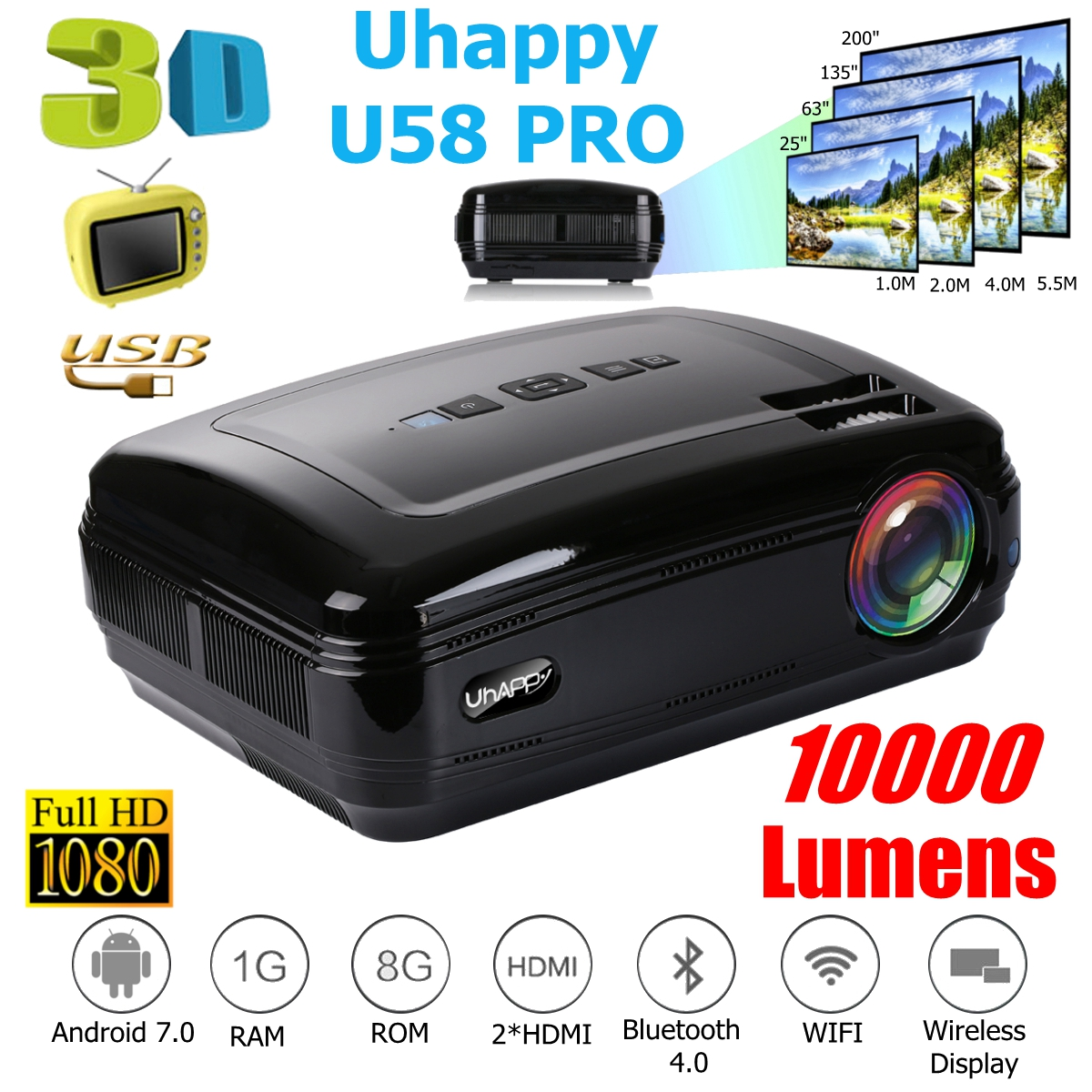 10000 Lumens 1080P Mini Projector 3D LED Home Cinema Theater Projector