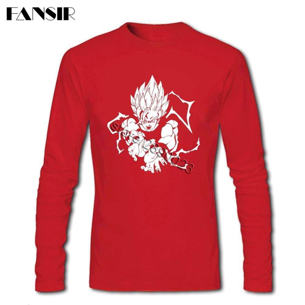 В продаже мужские футболки Dragon Ball Z Goku из чистого хлопка с круглым вырезом и длинными рукавами Топы для молодежи