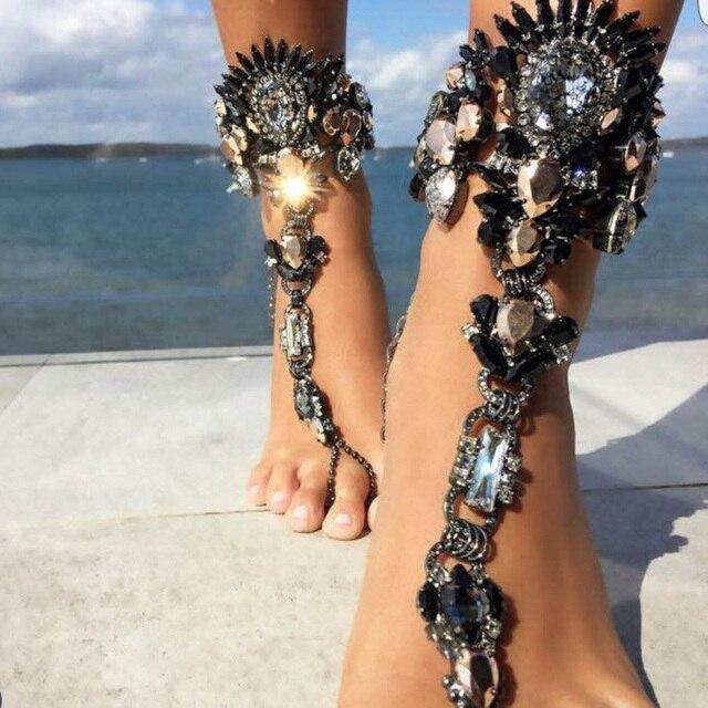 Boho kryształowa bransoletka na kostkę Australia plaża wakacje bransoletka na kostkę sandały Sexy łańcuch nogi kobiece oświadczenie Asteria Lyra biżuteria na stopy