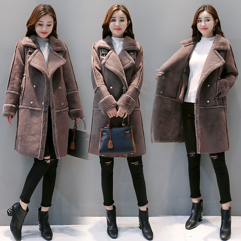 Suede     Leather   Coats 2018 New Autumn Winter Women's Long Fur Thick Parkas Female Faux Sheepskin Windbreakers Jackets High Quality