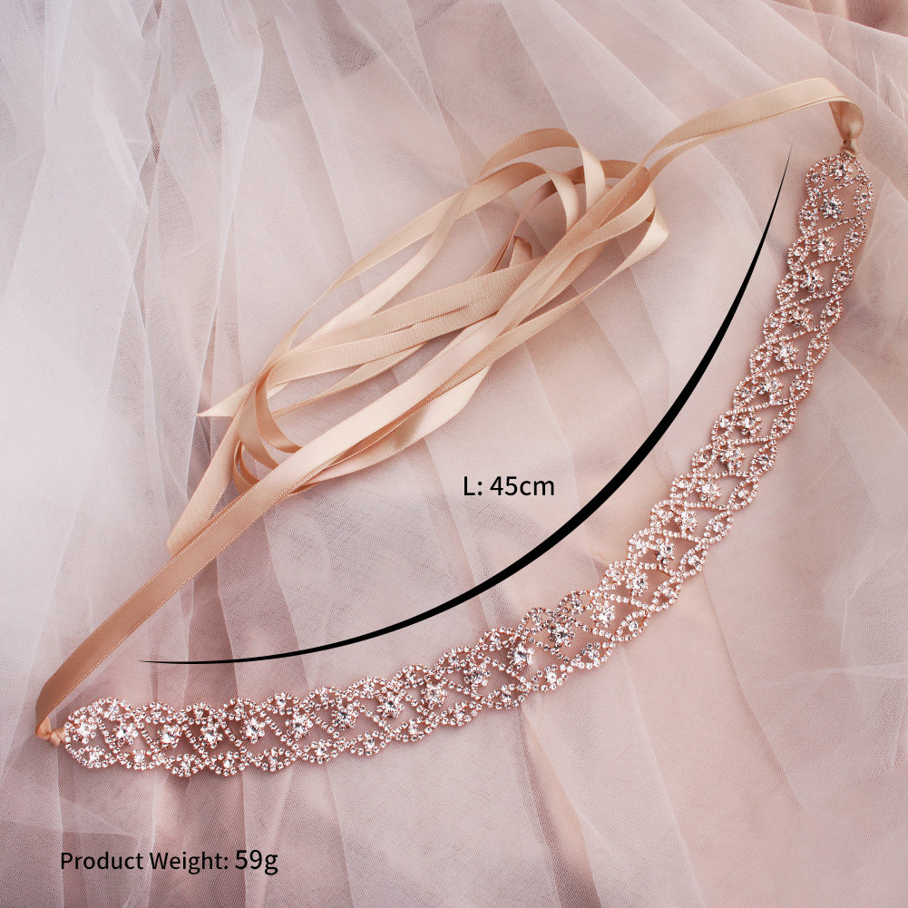Купить с кэшбэком 2019 Newest Rose Gold Wedding Belts and Sashes for Bride Girls Dress Sash Wedding Accessories Rhinestone Bridal Belts