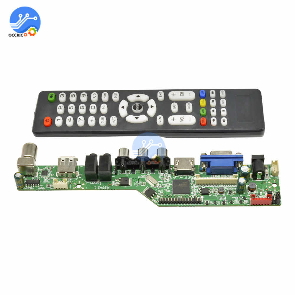 Upgrade Sinyal Digital TV LCD Controller Driver Papan VGA/HDMI/AV/TV/USB Interface Driver Papan dengan Bahasa Inggris Remote Control
