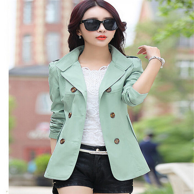 Women Trench Coats Hot 2016 Slim Solid Double Breasted Turn-down Collar Overcoat Women's Plus Size Outerwear C8104