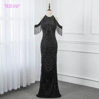 2019 потрясающее Черное вечернее платье со стразами Длинные Пышные Платья с кисточками платья с юбкой годе Robe de Soiree YQLNNE