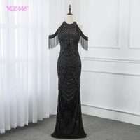 2019 Amazing Black Rhinestones Evening Dress Long Tassels Pageant Dresses Mermaid Gowns Robe de Soiree YQLNNE