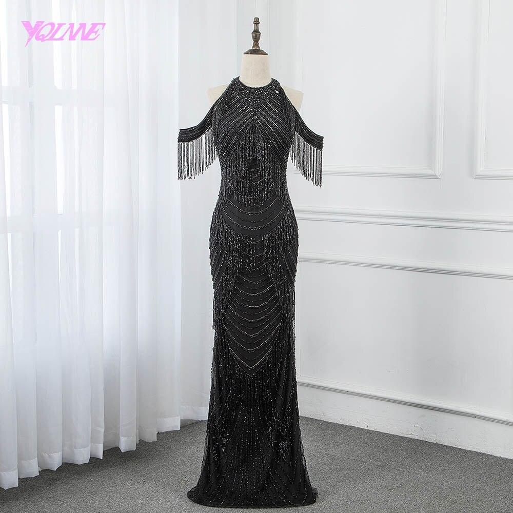 2019 increíble vestido de noche de diamantes de imitación negro con borlas largas vestidos de desfile vestidos de sirena bata de Soiree YQLNNE
