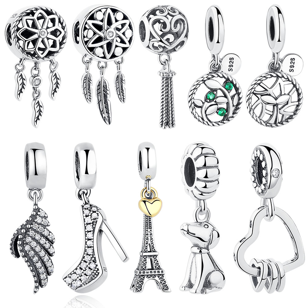 Fit Оригинална гривна Pandora Charms 925 Sterling Silver Mickey Minnie Lucky Eye Heart Beads Clear CZ Crystal Charms DIY Бижута
