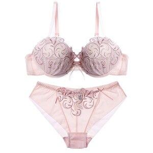 Image 2 - Lilymoda sutiã feminino breve define sexy bordado floral push up cup bra e calcinha sem costura calcinha feminino sutiã lingerie vermelho