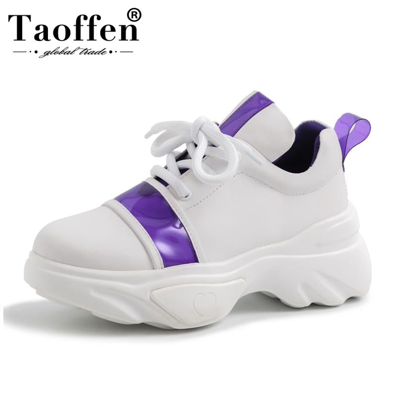 Taoffen Brand Thick Bottom Platform Sneakers Women Genuine Leather Casual Shoes Mesh Breathable Vulcanized Shoes Size 35-42Taoffen Brand Thick Bottom Platform Sneakers Women Genuine Leather Casual Shoes Mesh Breathable Vulcanized Shoes Size 35-42