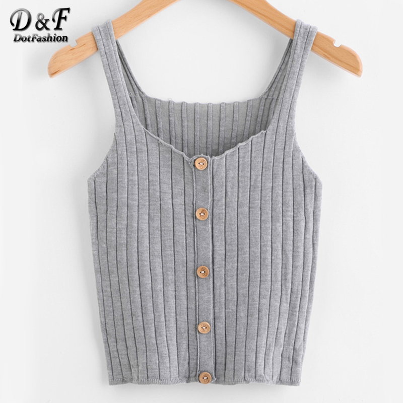 Dotfashion Ladies Button Up Rib Knit Plain Top Scoop Neck Vacation Vest Women Autumn Skinny Casual Camisole