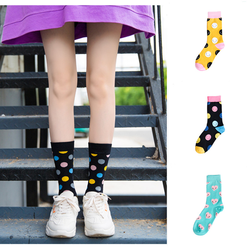 Fashion Woman Street Style Unisex Smiley Love Socks Meias Korean Style Female College Wind Happy Love Girl Long Socks