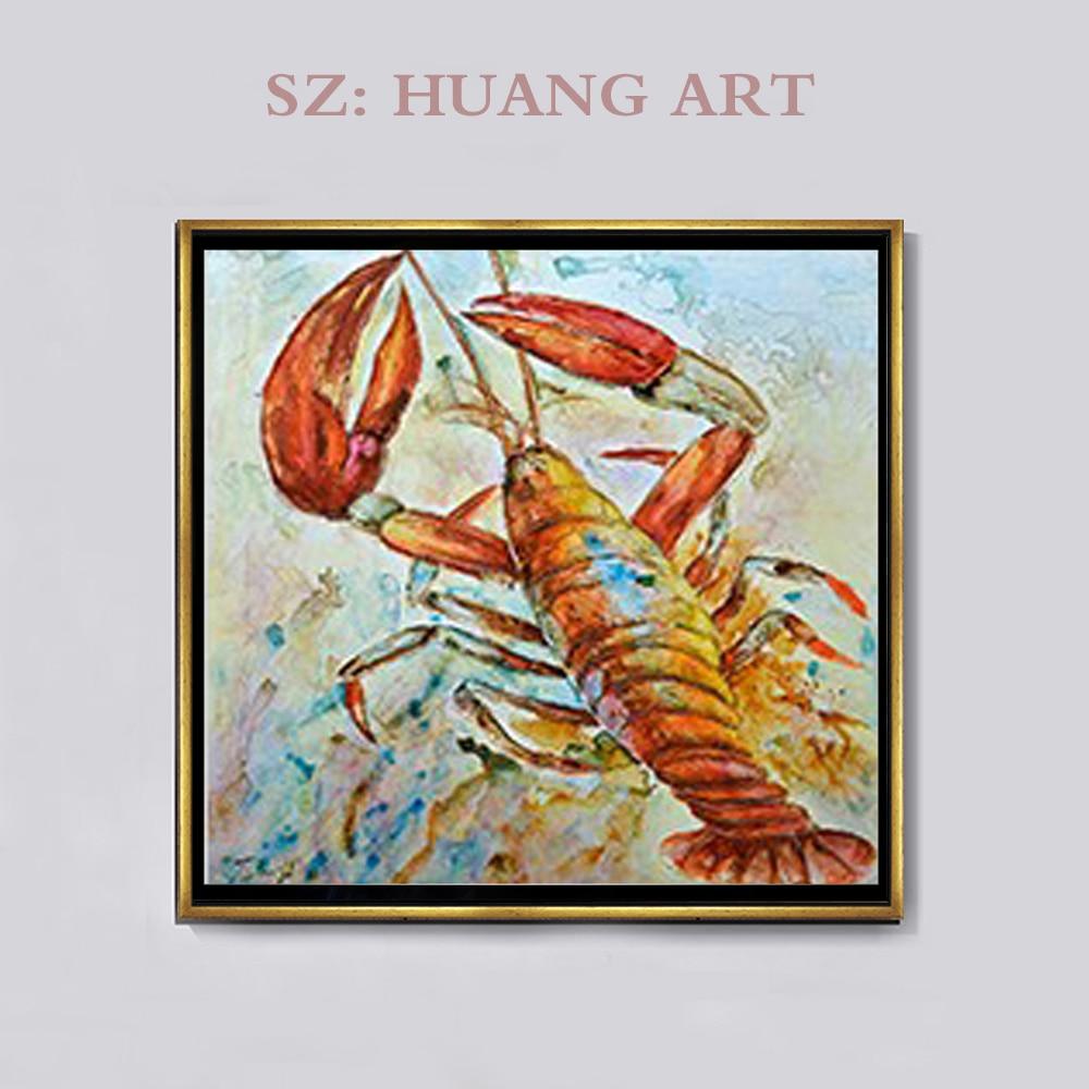 Décorer ménage crabe homard eau Animal mur Art à la main peinture à l'huile toile grande taille maison chambre décoration