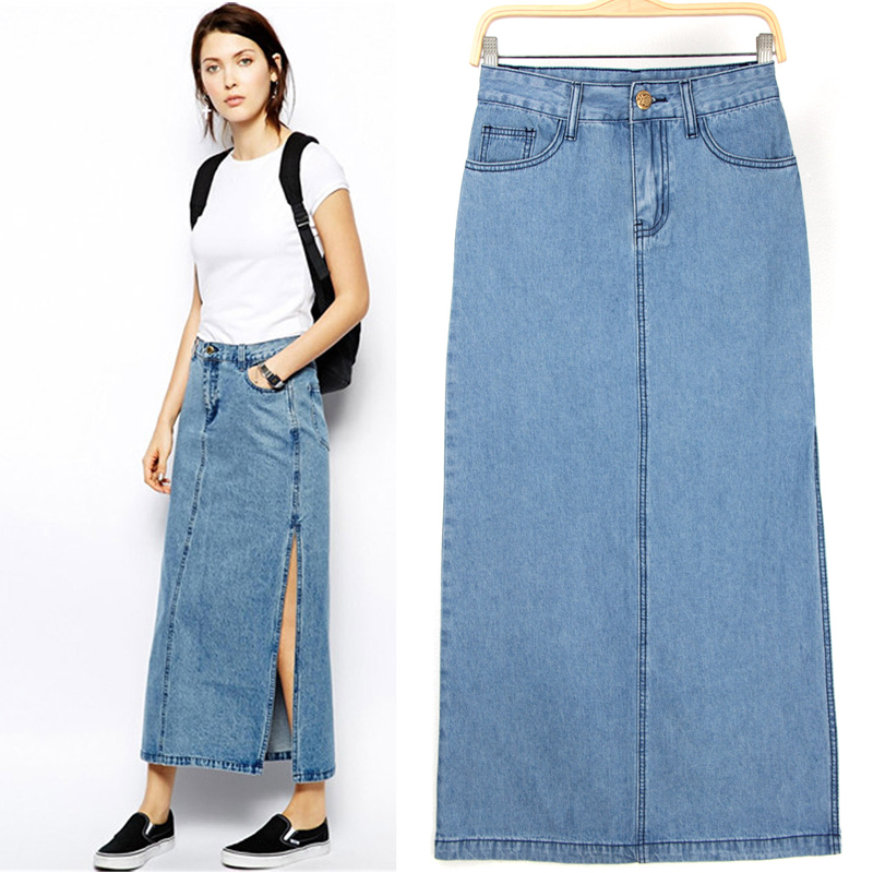 Womens Long Denim Skirt - Skirts