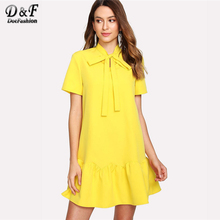 Dotfashion Tied Neck Solid Ruffle Hem font b Dress b font Summer Short Sleeve Stand Collar