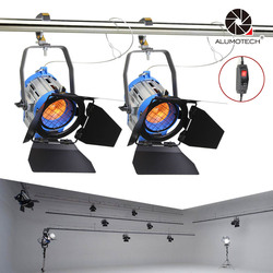 ALUMOTECH Pro As ARRI 2PCS 300W Dimmer Built-in Fresnel Tungsten Spot Light For Camera Video Studio Photography Lamp