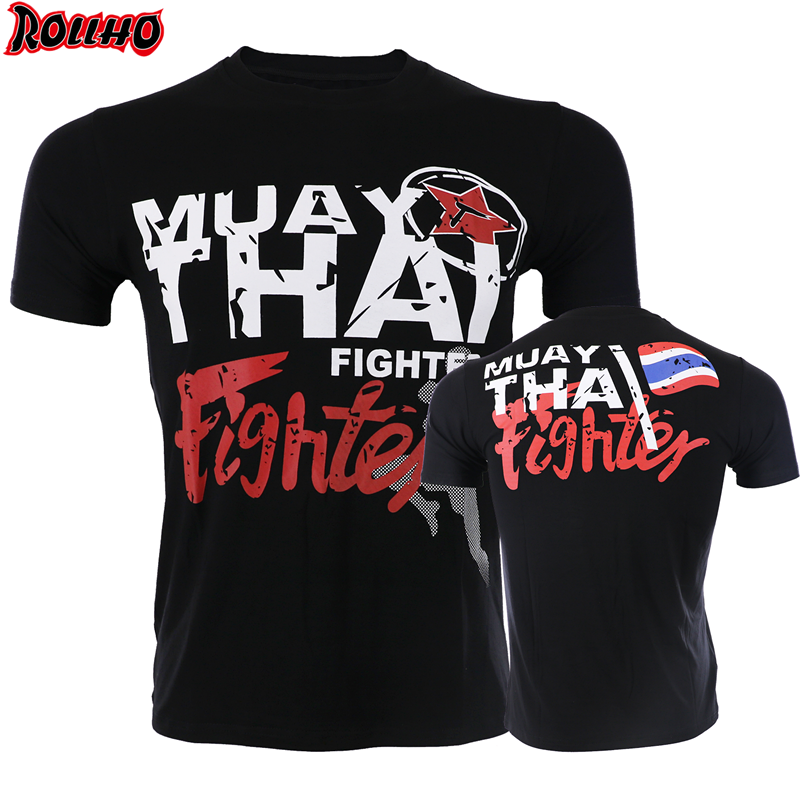 ROLLHO Quick-drying Jersey MUAY THAI THAI Boxing Short Sleeve T-shirt For MMA Fitness Elastic Fighting Men Jiu Jitsu