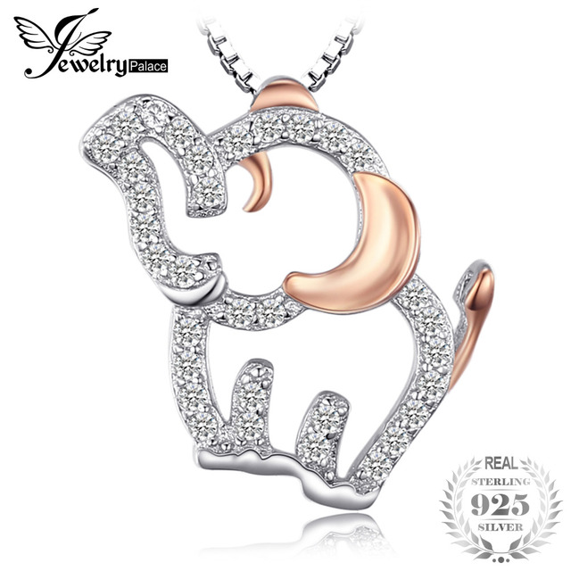 JewelryPalace Elephant Lovely Round Cubic Zirconia Pendant 925 Sterling Silver J