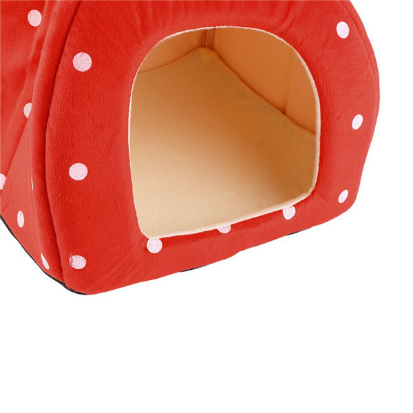 2016 Popular New Soft Strawberry Pet Igloo Cat House Kennel Doggy Fashion Cushion Basket Puppy Sleeping Mat Nest Warm Winter Bed