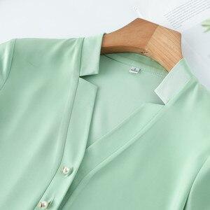 Image 5 - Wysokiej jakości moda damska koszula nowa jesienna V Neck z długim rękawem Slim Business bluzki biurowa, damska jasnozielona bluzki do pracy