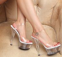 Plus 34 44 Sexy Transparent Crystal Platform Sandals 15 17cm Ultra High Thin Heels Ankle Strap