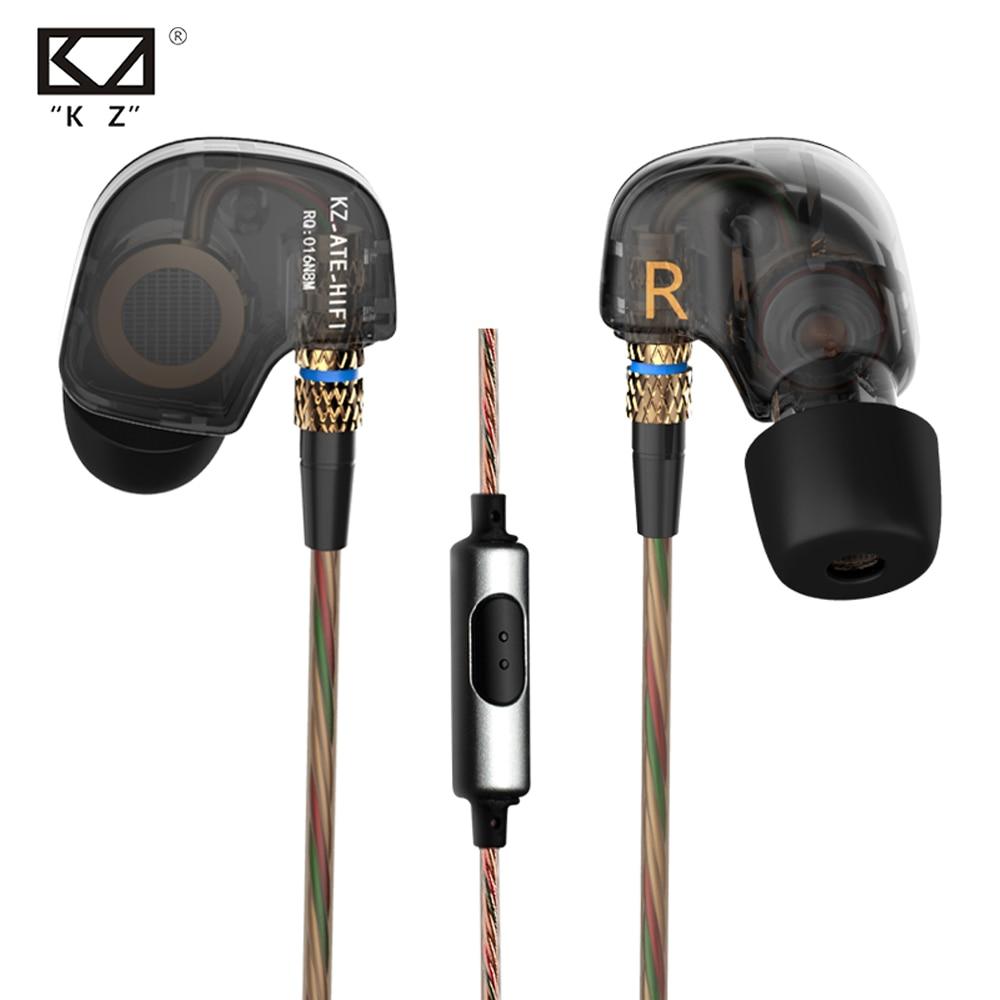 100% originaal KZ ATE 3,5 mm kõrvaklappides Stereo Sport kõrvaklapid Super HIFI bassimüra eraldav mikrofoniga