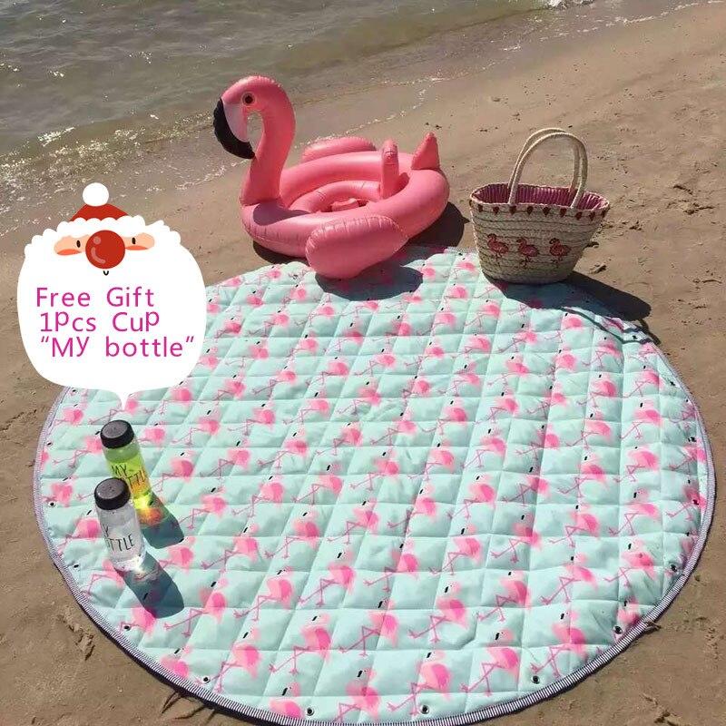 Flamants roses bande dessinée imperméable Oxford tapis rond enfant jouer jeu Pad pique-nique plage tapis 150 cm bébé jouet sac de rangement organisateur couverture