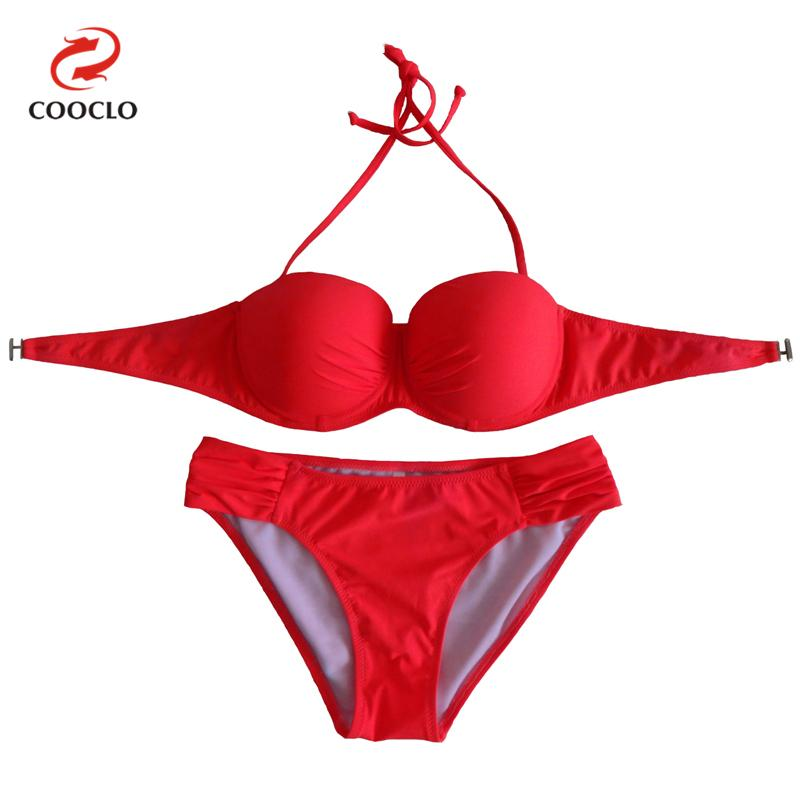 COOCLO 2017 Sexy Bikinis Set Women Swimwear Halter Push up Bandeau Top Beach Wear Solid Color Swimwear Biquinis Bathing Suits 2017 sexy bikini women halter push up swimwear biquinis feminino bathing suits summer top beach wear lady bikinis set swim suit