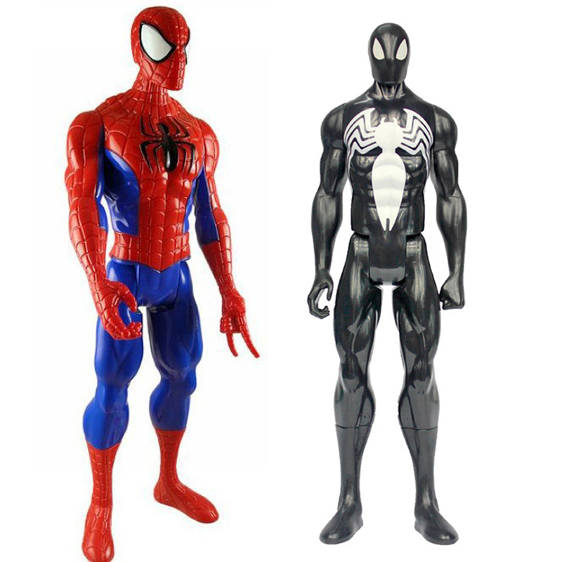2 Styles Black Red Marv Super Heros Spiderman Black Suit Spider-man PVC Action Figure Collectible Model Toy 1230cm naruto kakashi hatake action figure sharingan ver kakashi doll pvc action figure collectible model toy 30cm kt3510