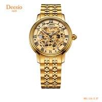 Deesio Роскошные автоматические деловые часы для мужчин наручные часы нержавеющая сталь Ремешок золотые часы водонепроница