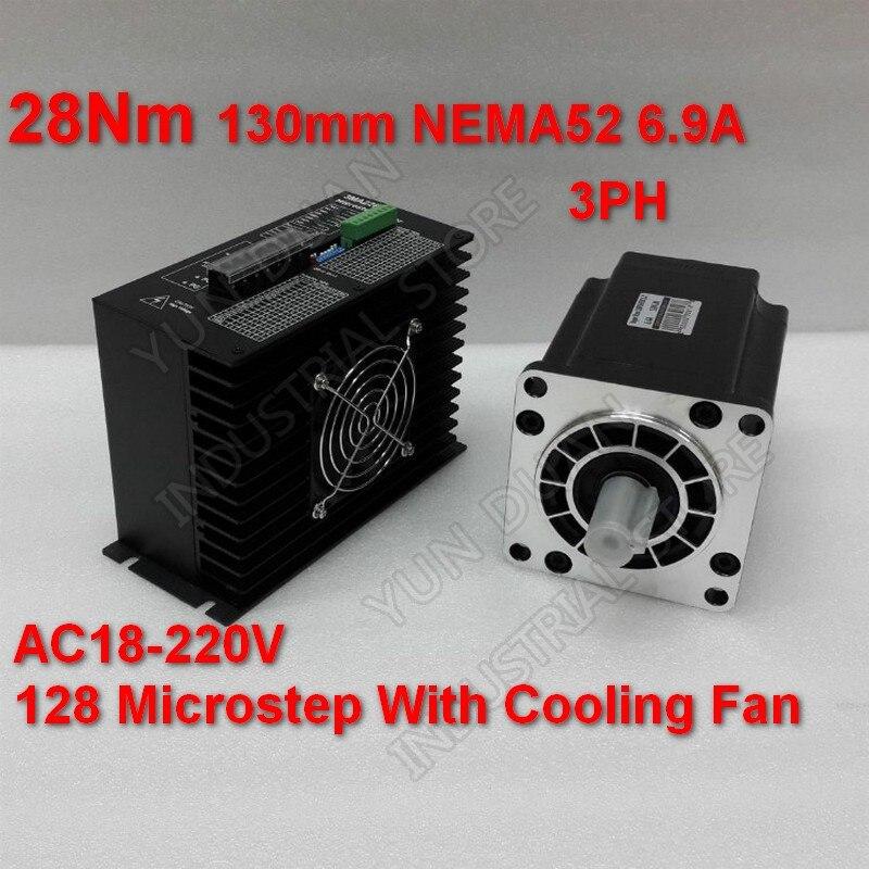 28Nm 130mm NEMA52 6.9A Kit de pilote de moteur pas à pas 3PH 32 DSP AC18-220V 128 Microstep avec ventilateur de refroidissement couple élevé pour CNC