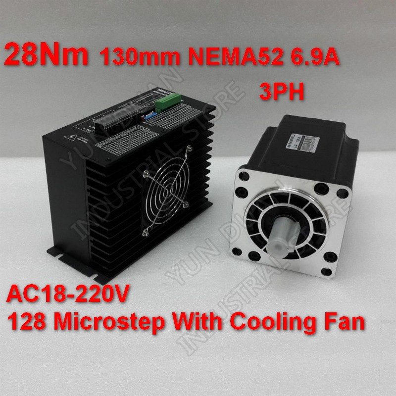 28Nm <font><b>130mm</b></font> NEMA52 6.9A Stepper Motor Driver Kit 3PH 32 DSP AC18-220V 128 Microstep With Cooling <font><b>Fan</b></font> High Torque For CNC image