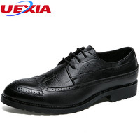 UEXIA Leather Cowhide Vintage Men Oxford Shoes Lace Up Non Slip Classic Handmade Dress Shoes Brown