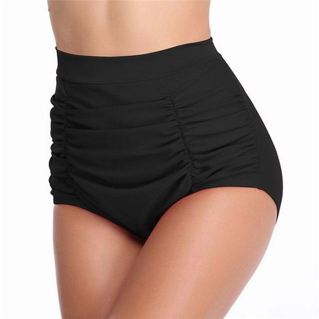 ec8e65c8a55b1 High Waist Black Bikini Bottoms Swimwear Bathing Suit Swim Briefs Lady s  Bathing Underwear Plus Size Women Swimsuit Shorts S-XXL