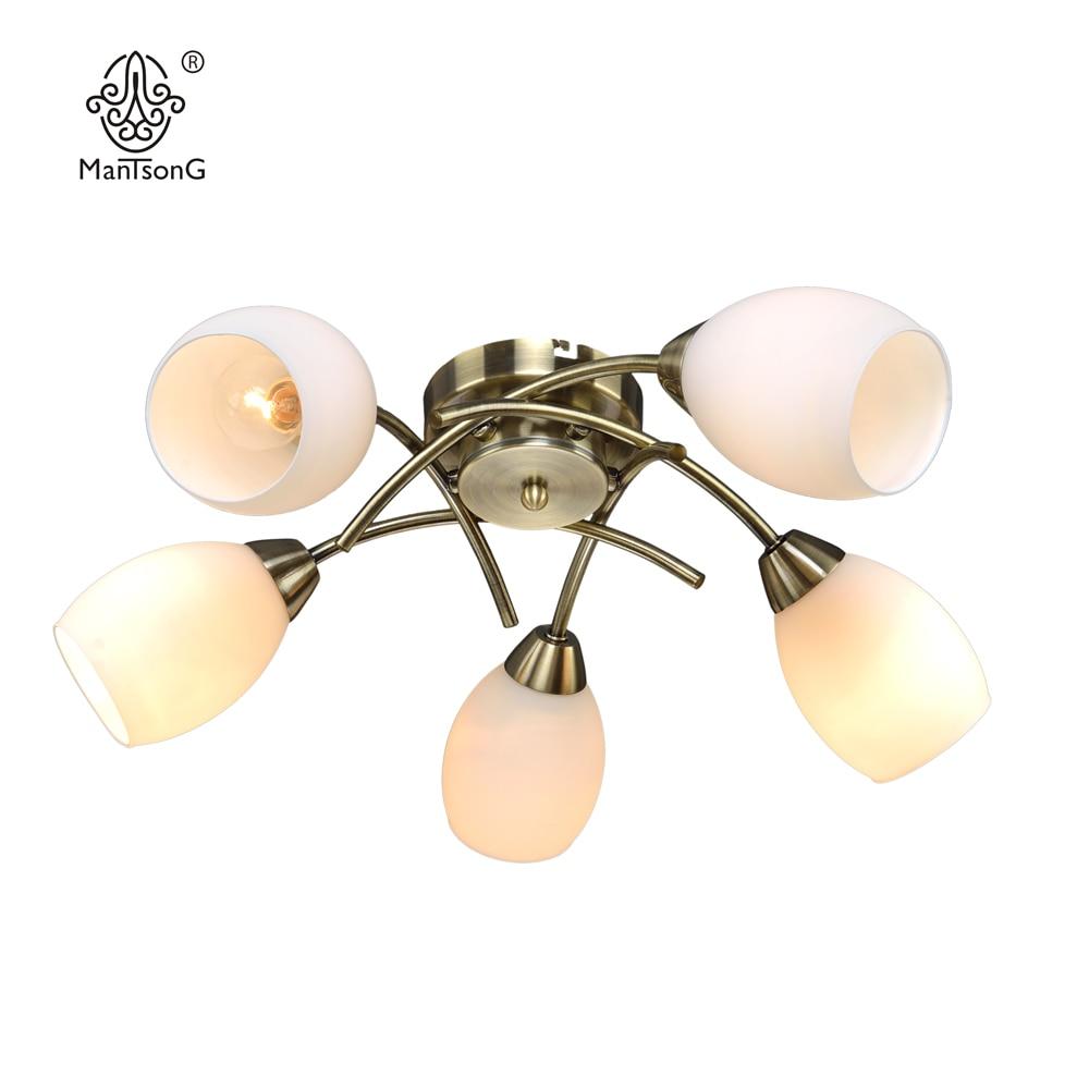 Классический потолочный светильник светодиодный E14 лампы рекомендовать 5 Стекло тени Винтаж бронза бра Home Decor Освещение в помещении приспос...