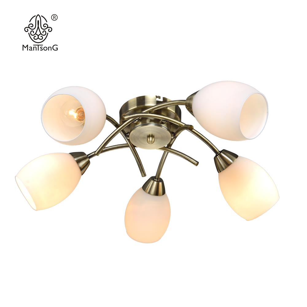 Classical Ceiling Light LED E14 Bulb Recommend 5 Glass Shade Vintage Bronze Sconce Home Decor Indoor Lighting Fixture Bedroom