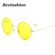 1c2e69f7e0 Vintage Round Sunglasses Men Fashion Metal Hole Small Legs Thin Night Vision  Retro Prince Sun Glasses Women Hip-hop Yellow Lens