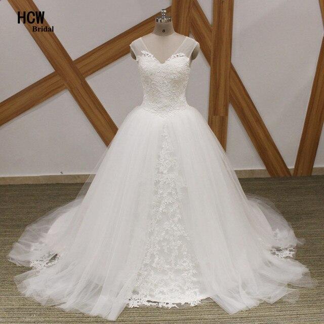 Wdzięku Biały Tulle Księżniczka Suknia ślubna V Neck Lace Top