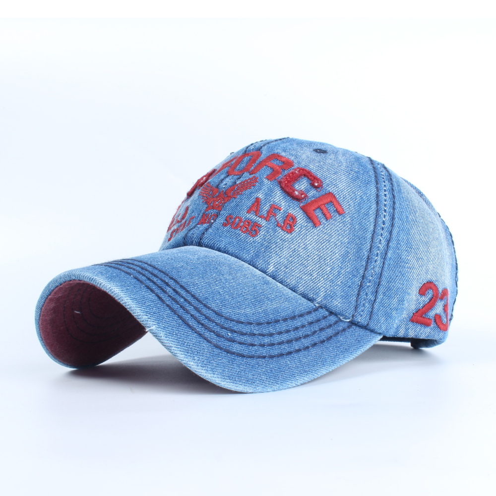 Difanni New Fashion Cowboy Baseball Cap Letter US Airforce Sanpback Hats For Men And Women Fitted Denim Jeans Hat Unisex Hip Hop new hot sales mens jeans slim straight high quality jeans men pants hip hop biker punk rap jeans men spring skinny pants men