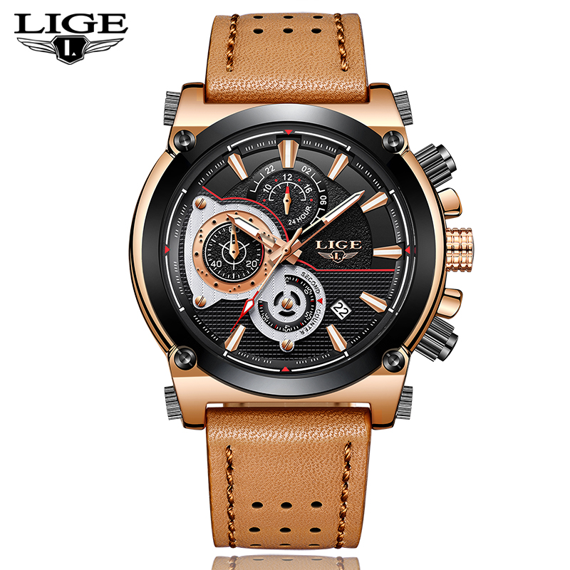LIGE Mens Watches Top Brand Luxury Quartz Gold Watch Men Casual Leather Military Waterproof