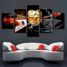 Poster Decor Canvas Pictures Modern HD Prints 5 Pieces Skull And Guitar Musical Instruments Wall Art Modular Paintings Framework