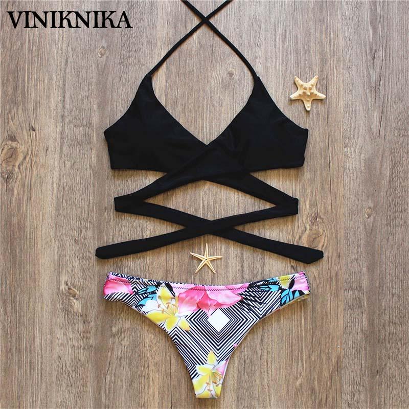 VINIKNIKA 2017 Hot Woman Bikini Swimsuit Sexy Lady Low Waist Cross Bikini Set New Summer Beach Brazil Swimwear 3