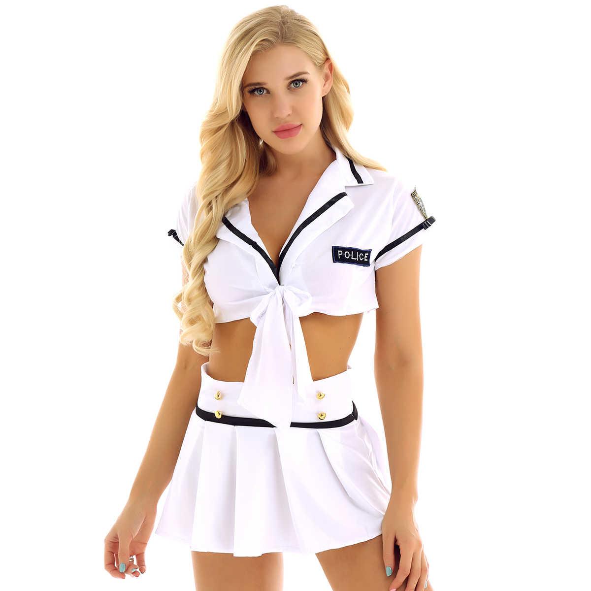 Frauen Cheerleading Uniform Dessous Anzug Offizier Polizistin Cosplay Cheerleader Kostüme Crop Top mit Falten Mini Rock Set