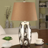 Modern Table Lamps Silven Hollow Ceramic Reading Light Bedroom Bedside Lights Lampshade Home Lighting Led Ceramic