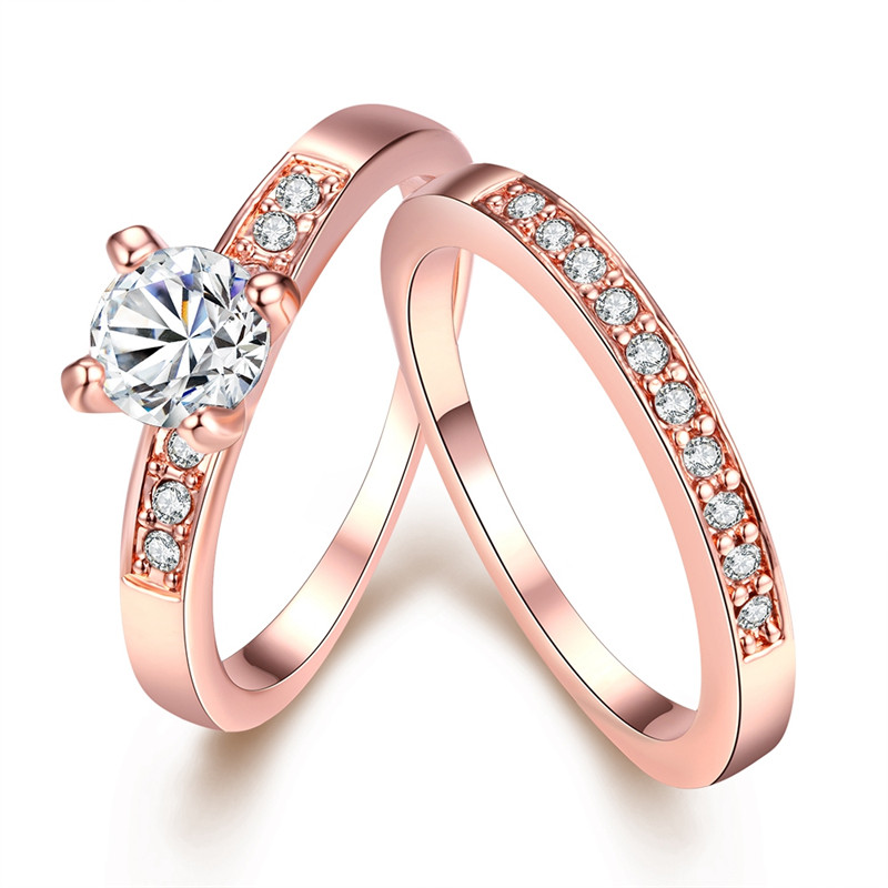 Boho Vintage Aneis Rose Gold 585 Color Couple Rings For