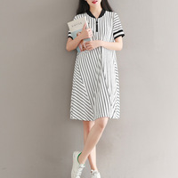 White Black Striped Long T Shirt Dress Women Stand Short Sleeve Loose Casual 2018 Summer Elegant