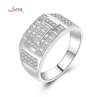 COLORFISH heren Solid 925 Sterling Zilveren Verlovingsringen Multi-Vorm Prong Set Prinses En Ronde Cut Zirconia Ring