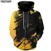 YOUTHUP 2018 New Fashion 3D Hoodies Men Women Hooded Yellow&Black Full Print Cool Sweatshirts 3d Pullover Plus Size Tops