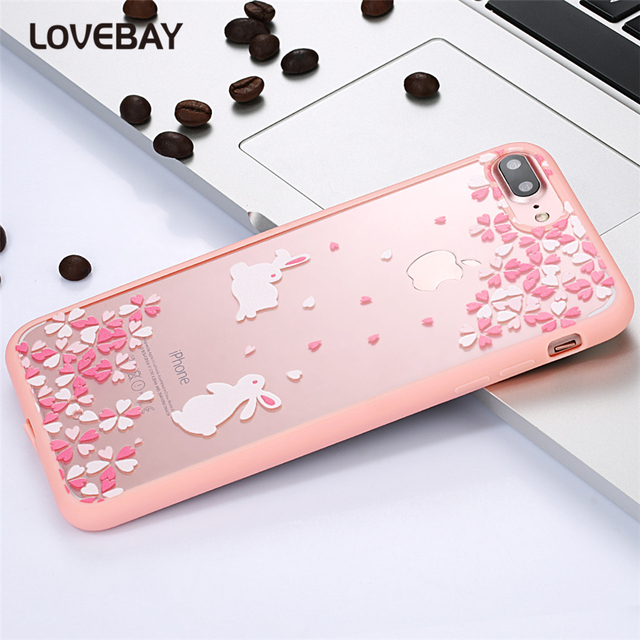 Cartoon Cat Cherry Tree Pattern Phone Case For iPhone 7 7 Plus 6 6s Plus 5 5s SE 5C 4 4S Hard Transparent Flowers Back Cover