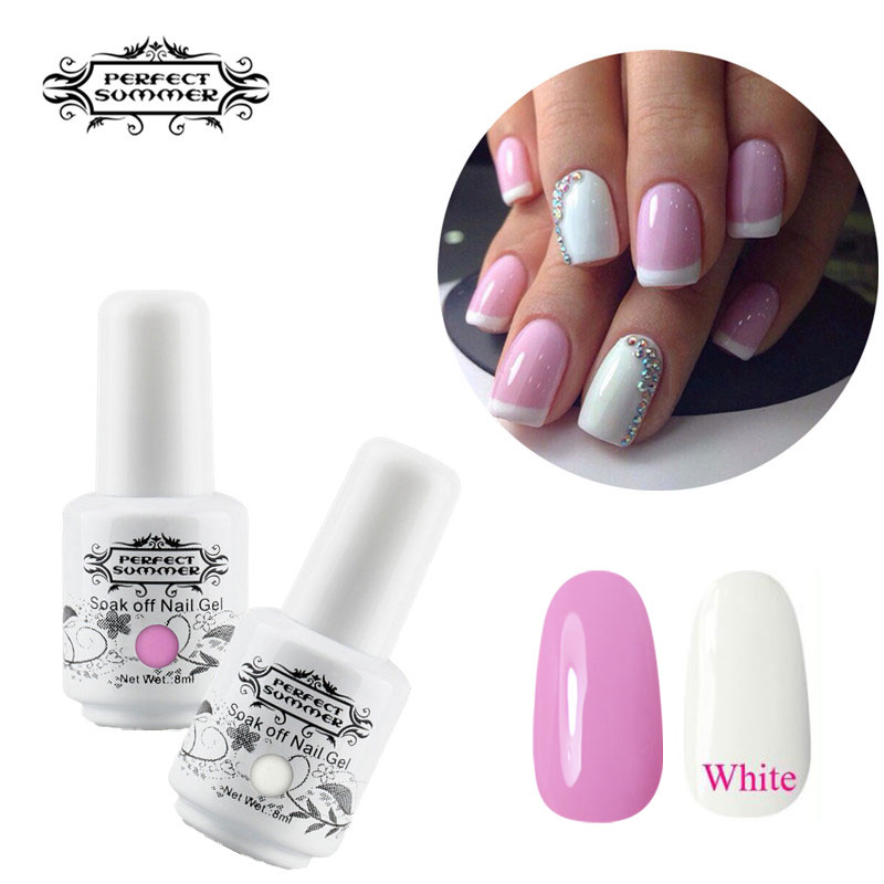 Nail Polish Manicure Nail Art Gel Nails: Perfect Summer Nail Gel French Manicure Pink White Color